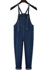 Trendy High Waist Front Pocket Design Women's Suspenders  Denim Pants -