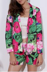 Fashionable Long Sleeve Full Print Coat + Slimming Colorful Shorts Twinset For Women -