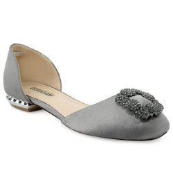 Elegant Satin and Rhinestones Design Flat Shoes For Women -