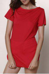 Short Sleeve Solid Color Slit Casual Dress - RED