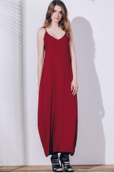 Casual Spaghetti Strap Sleeveless Solid Color Loose-Fitting Slip Maxi Dress For Women
