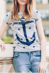 Trendy Scoop Neck Short Sleeve Anchor Print Women's T-Shirt