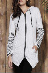 Chic Hooded Long Sleeve Letter Print Asymmetrical Women's Hoodie -