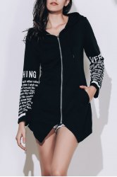 Chic Hooded Long Sleeve Letter Print Asymmetrical Women's Hoodie