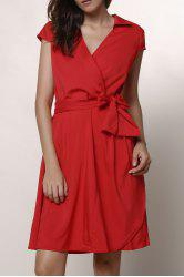Turndown Collar Crossover Midi A Line Dress - RED XS