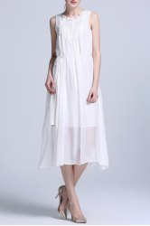 Solid Color Pleated Midi Tank Top Dress -