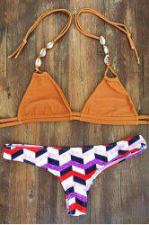 Halterneck Geometric Pattern Women's Bikini Set - COLORMIX M