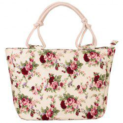 Floral Print Canvas Tote Bag -