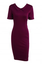 Elegant Flat Collar Solid Color Short Sleeve Bodycon Dress For Women
