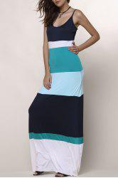 Bohemian Style Spaghetti Strap Color Block Women's Dress - LIGHT BLUE