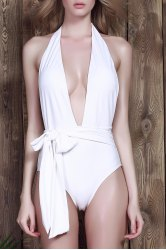 Sexy Halter Neck Low Cut Solid Color One-Piece Women's Swimwear -