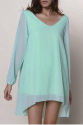 Split Long Sleeve Chiffon Summer Mini Dress - LIGHT GREEN