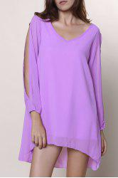Split Long Sleeve Chiffon Summer Mini Dress - LAVENDER