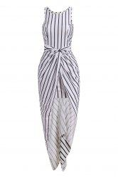 Sleeveless Vertical Stripes Asymmtrical Racerback Women's Maxi Dress