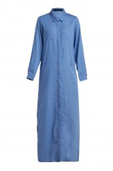 Long Sleeve Chambray Maxi Shirt Dress