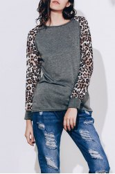 Stylish Scoop Neck Leopard Print Long Sleeve Baseball T-Shirt For Women - DEEP GRAY
