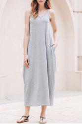 Casual Tea Length Slip Summer Dress - GRAY