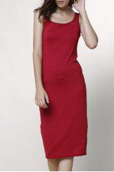 Sexy Scoop Collar Sleeveless Solid Color Bodycon Women's Dress - WINE RED