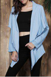 Fashionable Turn-Down Collar Long Sleeve Solid Color Women's Denim Coat -