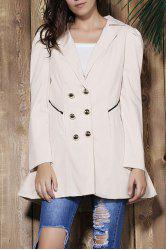 Elegant Turn-Down Collar Double Breasted Long Sleeve Trench Coat For Women -