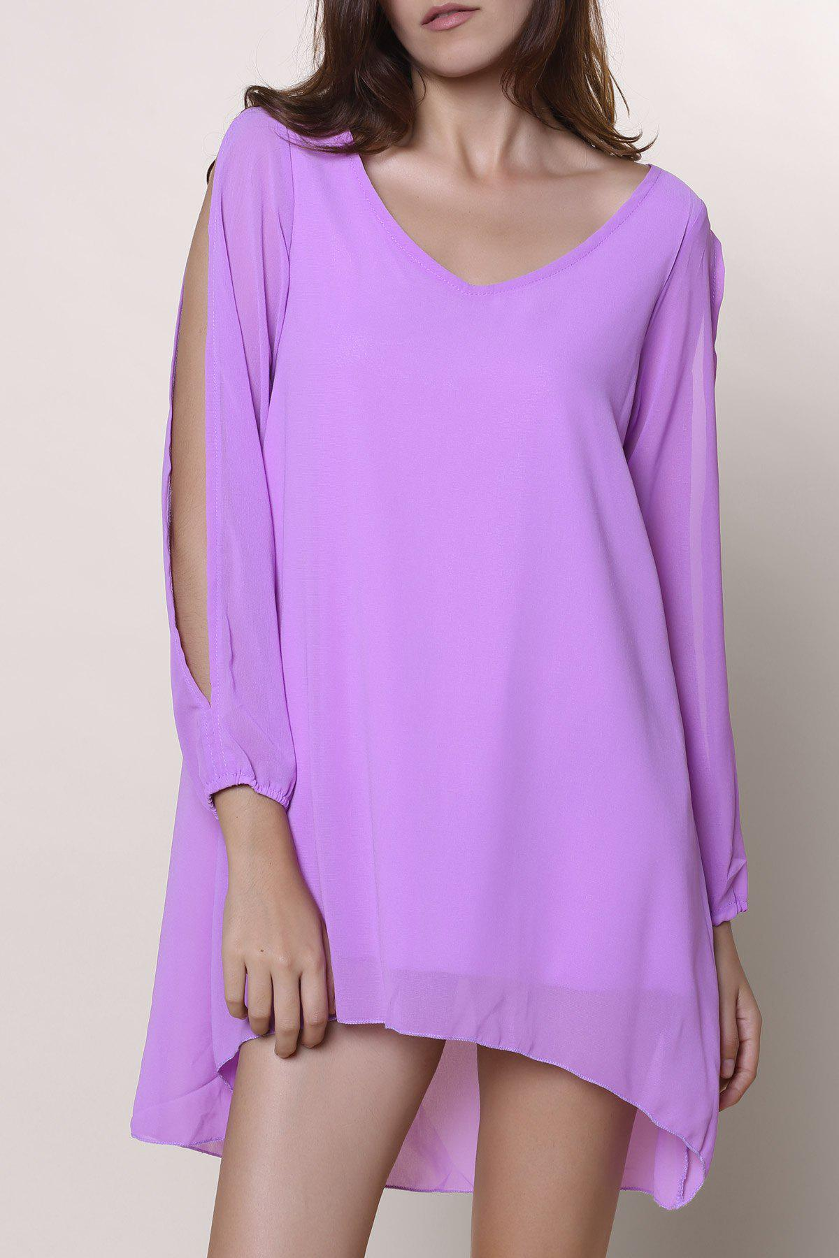 Unique Split Long Sleeve Chiffon Tunic Mini Dress