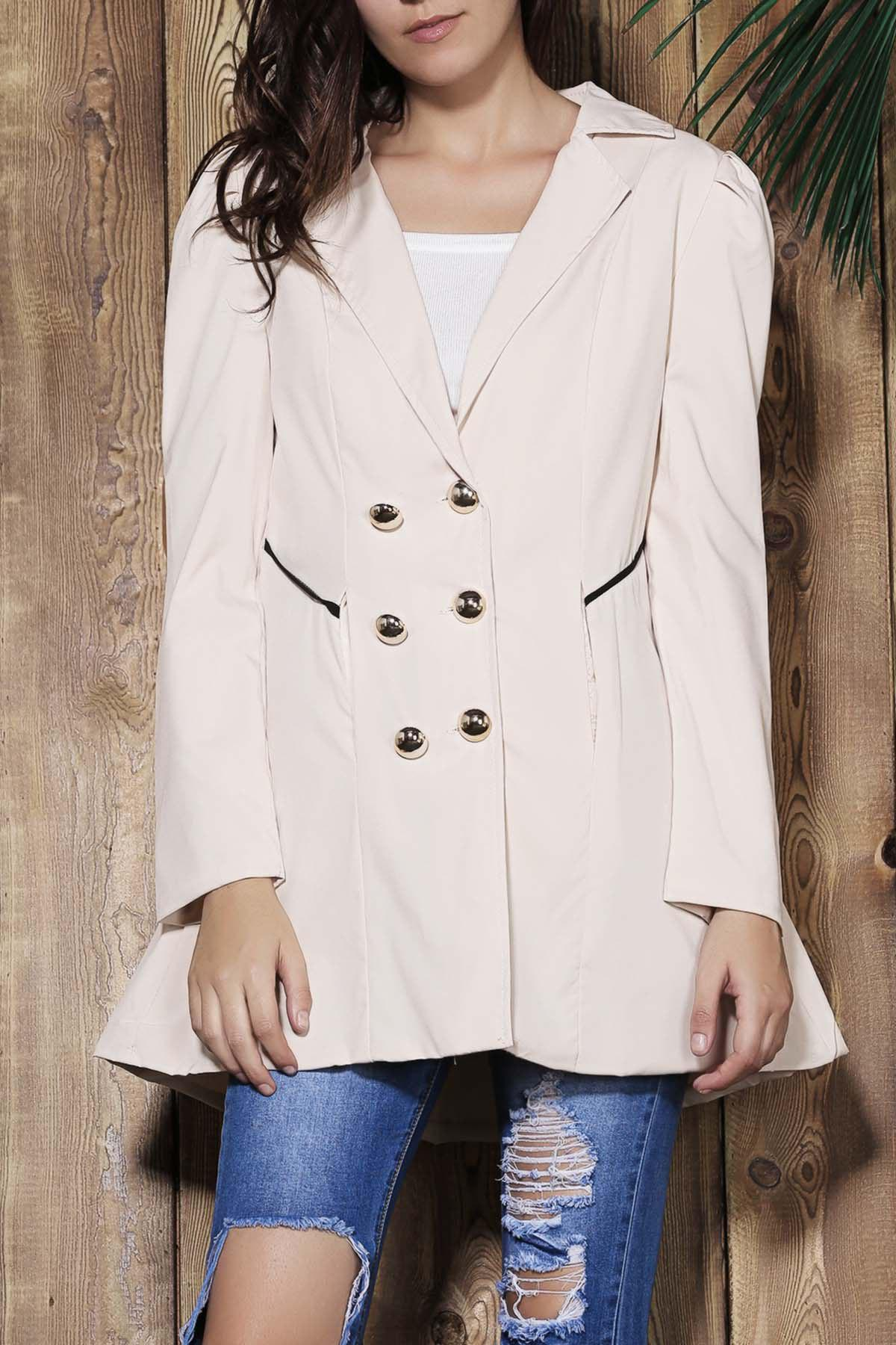 Buy Elegant Turn-Down Collar Double Breasted Long Sleeve Trench Coat For Women