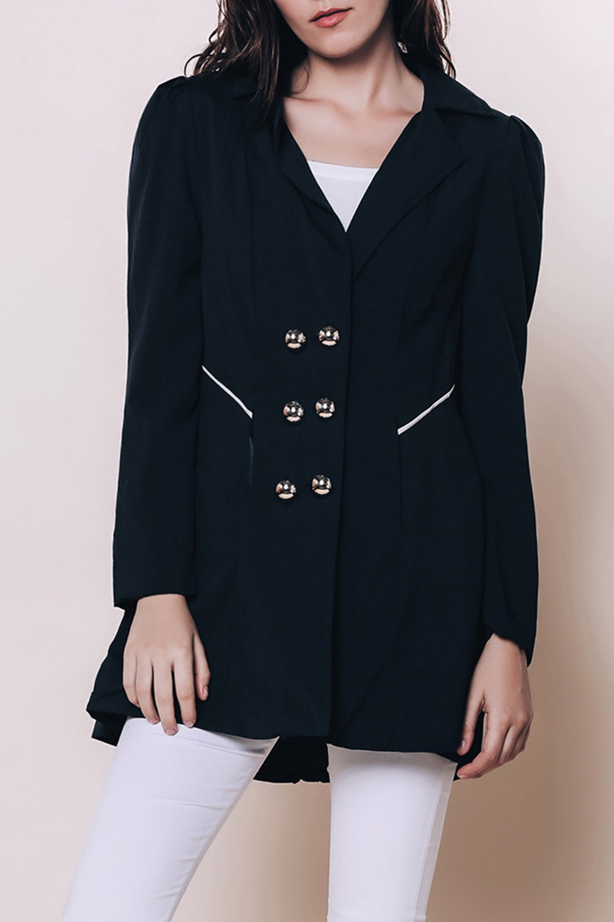 Discount Elegant Turn-Down Collar Double Breasted Long Sleeve Trench Coat For Women