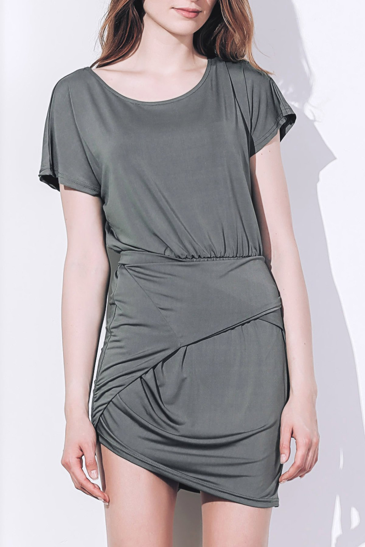 Discount Short Sleeve Asymmetrical T Shirt Dress