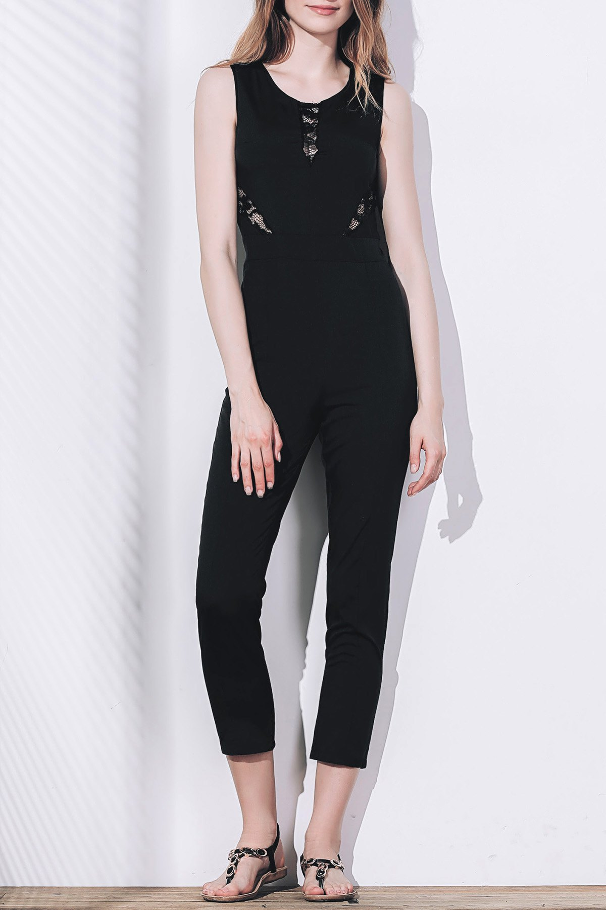 Buy Stylish Round Collar Sleeveless Lace Spliced Jumpsuit For Women
