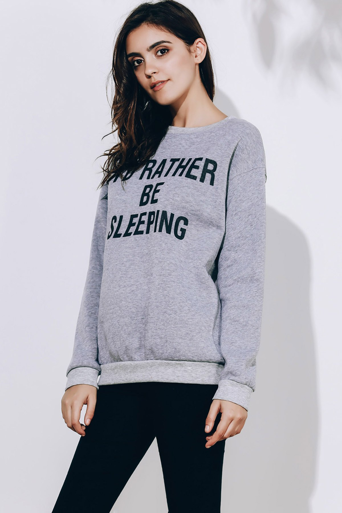 Womens Long Sleeve Round Neck Letter Pattern SweatshirtWOMEN<br><br>Size: M; Color: GRAY; Material: Polyester; Shirt Length: Regular; Sleeve Length: Full; Style: Fashion; Pattern Style: Letter; Season: Spring,Fall; Weight: 0.3080kg; Package Contents: 1 x Sweatshirt;