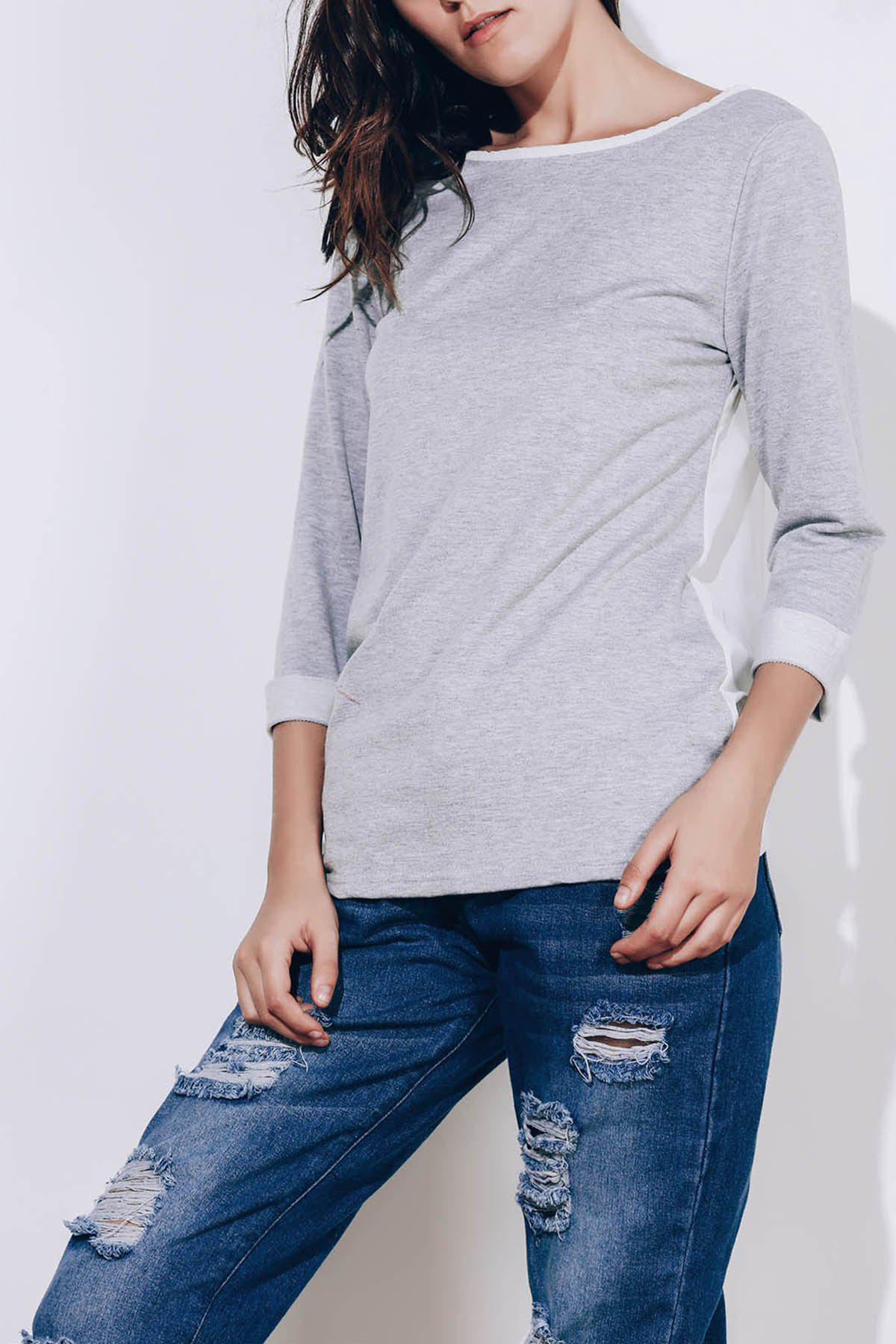 Sweet 3/4 Sleeve Back Bowknot Chiffon Spliced Pullover Sweatshirt For WomenWOMEN<br><br>Size: M; Color: GRAY; Material: Polyester; Shirt Length: Regular; Sleeve Length: Three Quarter; Style: Fashion; Pattern Style: Others; Weight: 0.199kg; Package Contents: 1 x Sweatshirt;