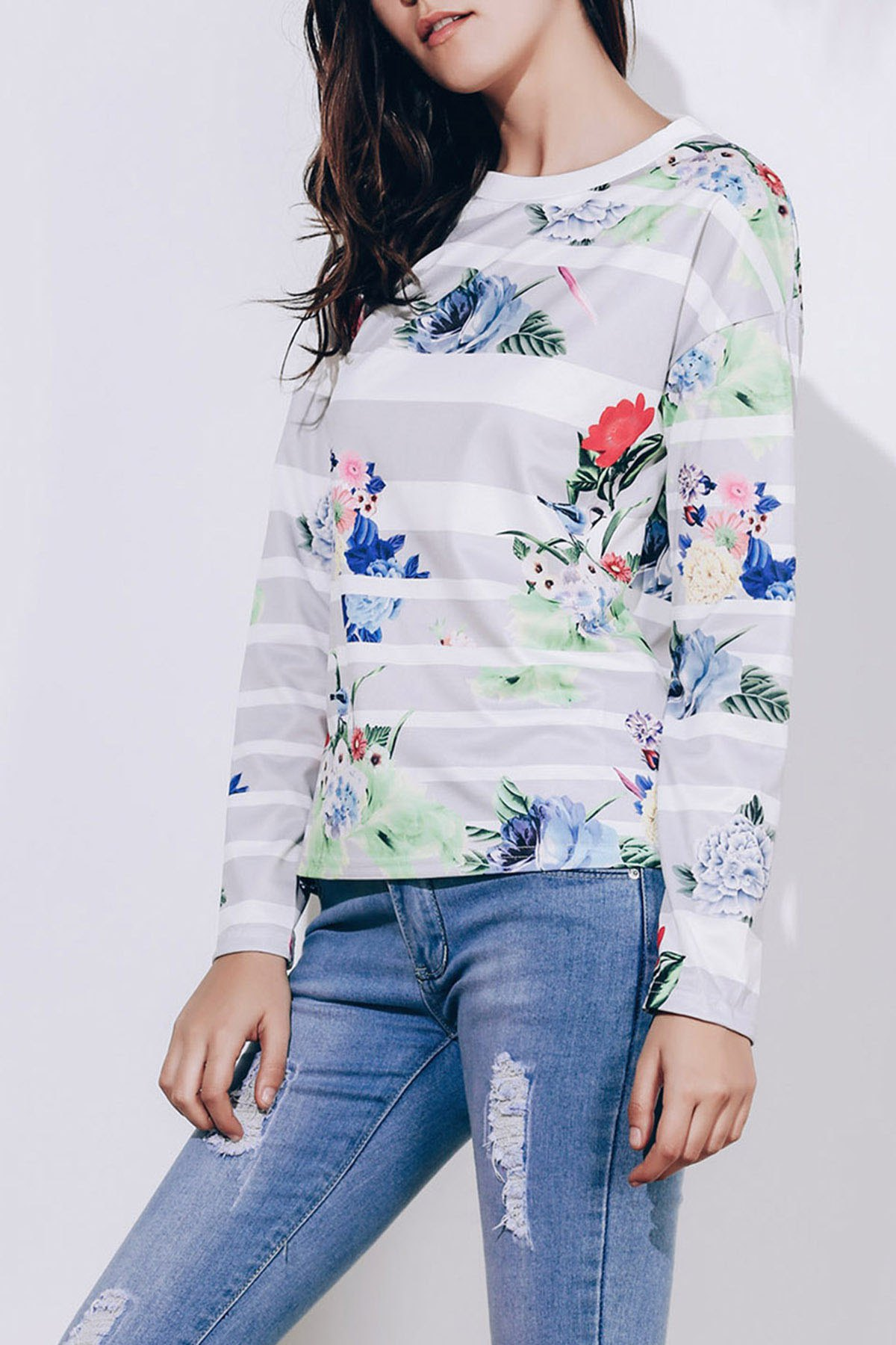 Trendy Trendy Striped Colorful Printed Long Sleeve T-Shirt For Women