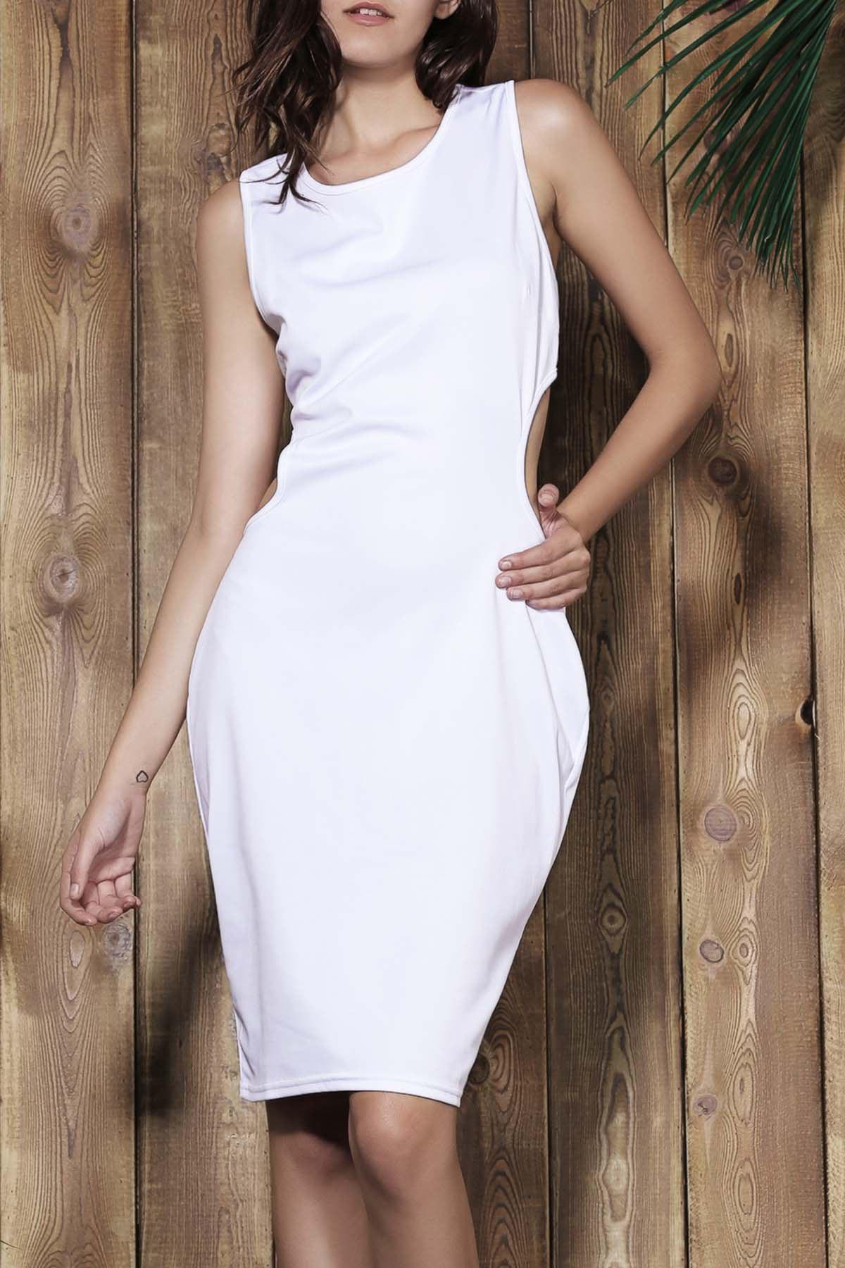 Affordable Alluring Scoop Neck Sleeveless Solid Color Cut Out Women's Dress