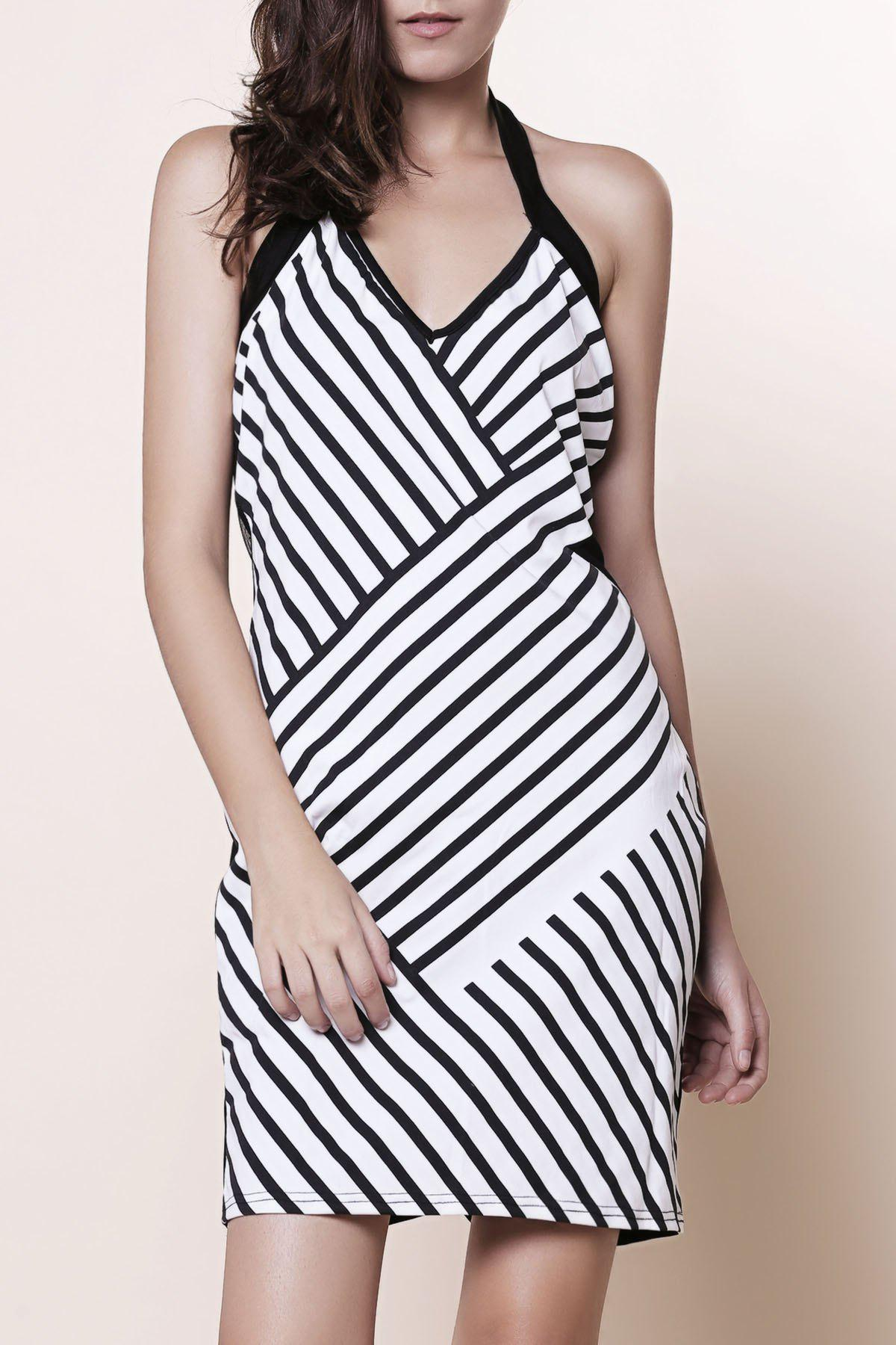 Trendy Backless Striped Halter Sheath Club Dress