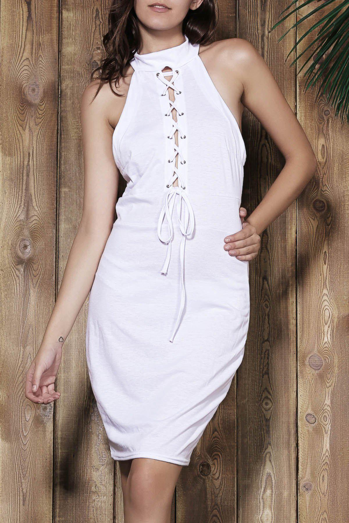 Outfit Sexy Halter White Self-Tie Hollow Sleeveless Dress For Women