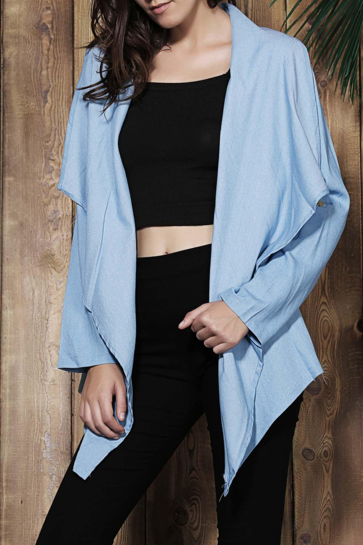 Best Fashionable Turn-Down Collar Long Sleeve Solid Color Women's Denim Coat