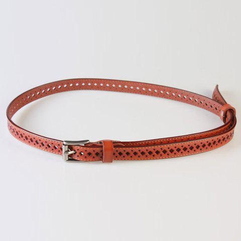 Discount Chic Pin Buckle Hollow Rhombus Polka Dot PU Belt For Women
