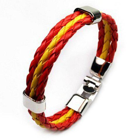 Faux Leather Spain BraceletJEWELRY<br><br>Color: RED; Item Type: Chain &amp; Link Bracelet; Gender: For Men; Chain Type: Link Chain; Style: Trendy; Shape/Pattern: Others; Weight: 0.050kg; Package Contents: 1 x Bracelet;