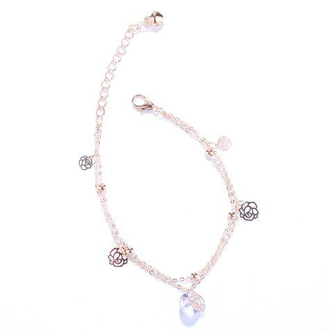 Cheap Stylish Multilayer Faux Crystal Flowers Anklet For Women
