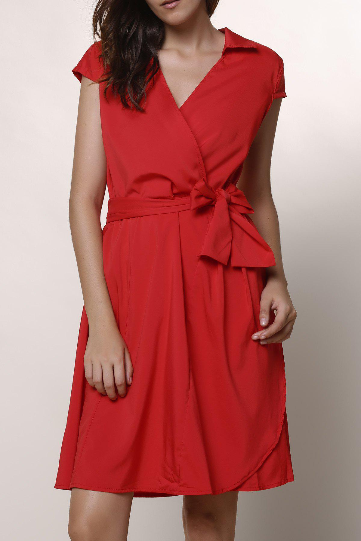 Trendy Turndown Collar Crossover Midi A Line Dress