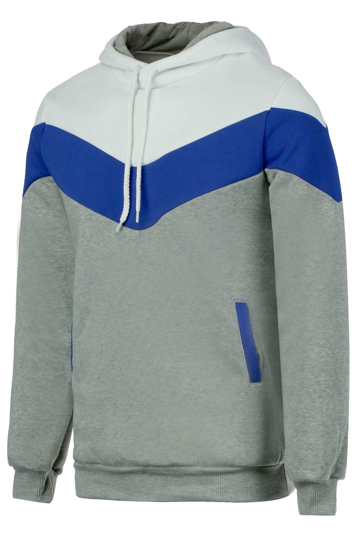 Slimming Trendy Hooded Personality Color Splicing Long Sleeves Mens Thicken HoodiesMEN<br><br>Size: 2XL; Color: LIGHT GRAY; Material: Cashmere,Cotton; Shirt Length: Regular; Sleeve Length: Full; Style: Casual; Weight: 0.425kg; Package Contents: 1 x Hoodies;
