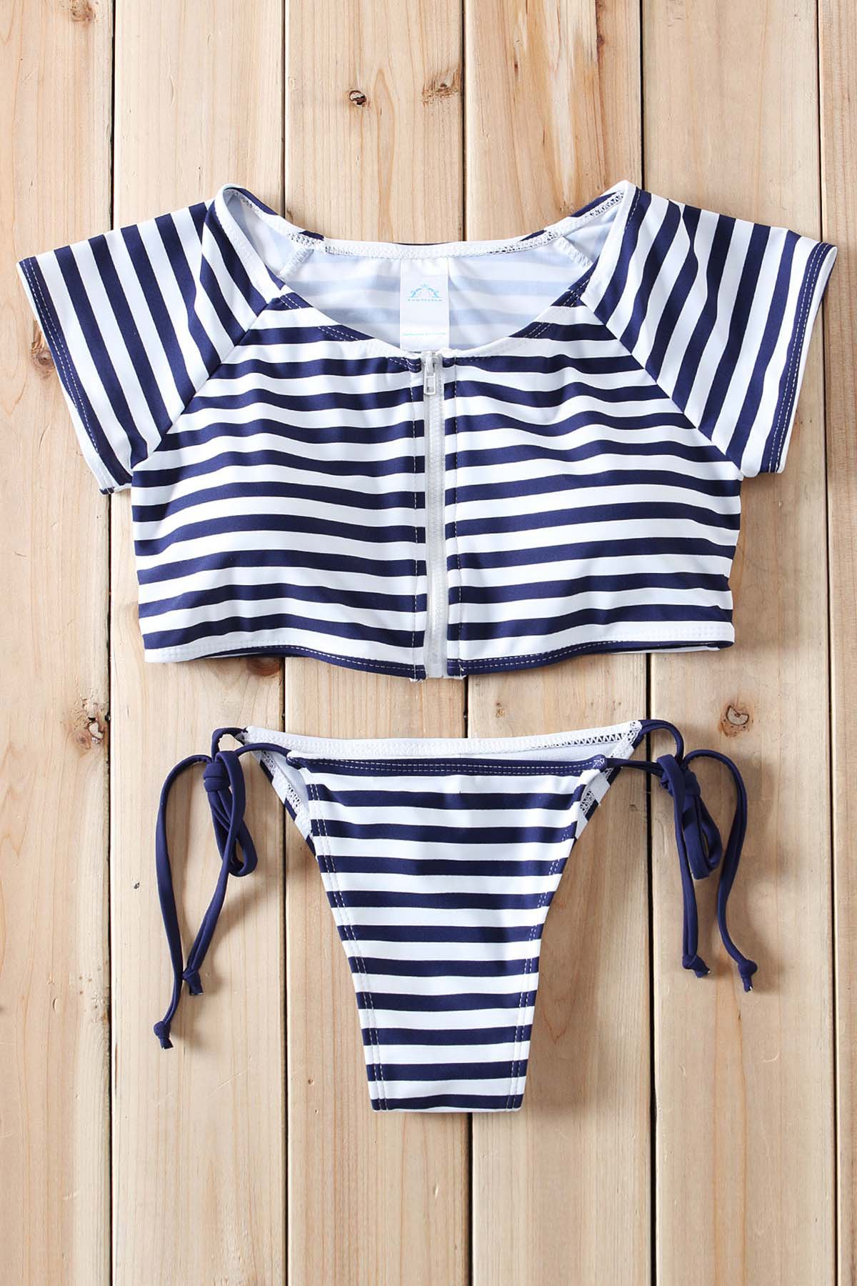 New Sexy Scoop Collar Short Sleeve Striped Zippered Two-Piece Women's Swimsuit