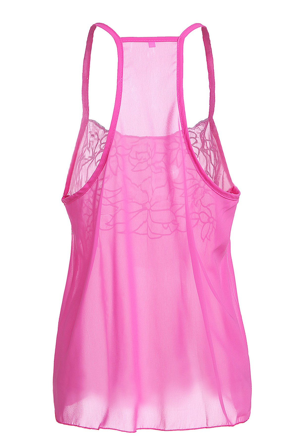 1aafcfba New Casual Low Cut Embroidered Flower Chiffon Racerback Tank Top For Women