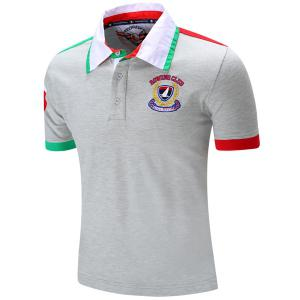 Turn-Down Collar Letters Badge Embroidered Color Block Spliced Short Sleeve Polo T-Shirt For Men - GRAY M