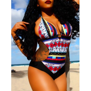 Sexy Hollow Out Printed Halter Monokini Swimwear -