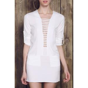 Long Sleeve Plunge Ladder Cutout Dress - White - L