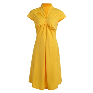 Vintage Stand Collar Solid Color Pleated Midi Dress For Women -