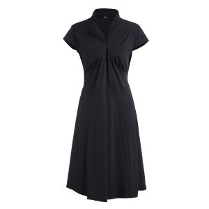 Vintage Stand Collar Solid Color Pleated Midi Dress For Women - Black - L