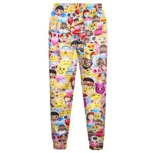 Colorful Elastic Waist Emjoy Print Pants For Women -