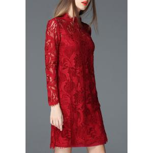 Solid Color Sheath Lace Dress -